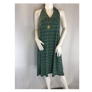 Halter dress with peacock design